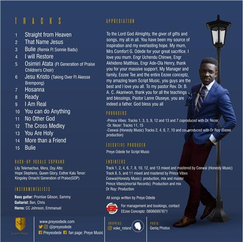 FULL ALBUM: Preye Odede released new Album title